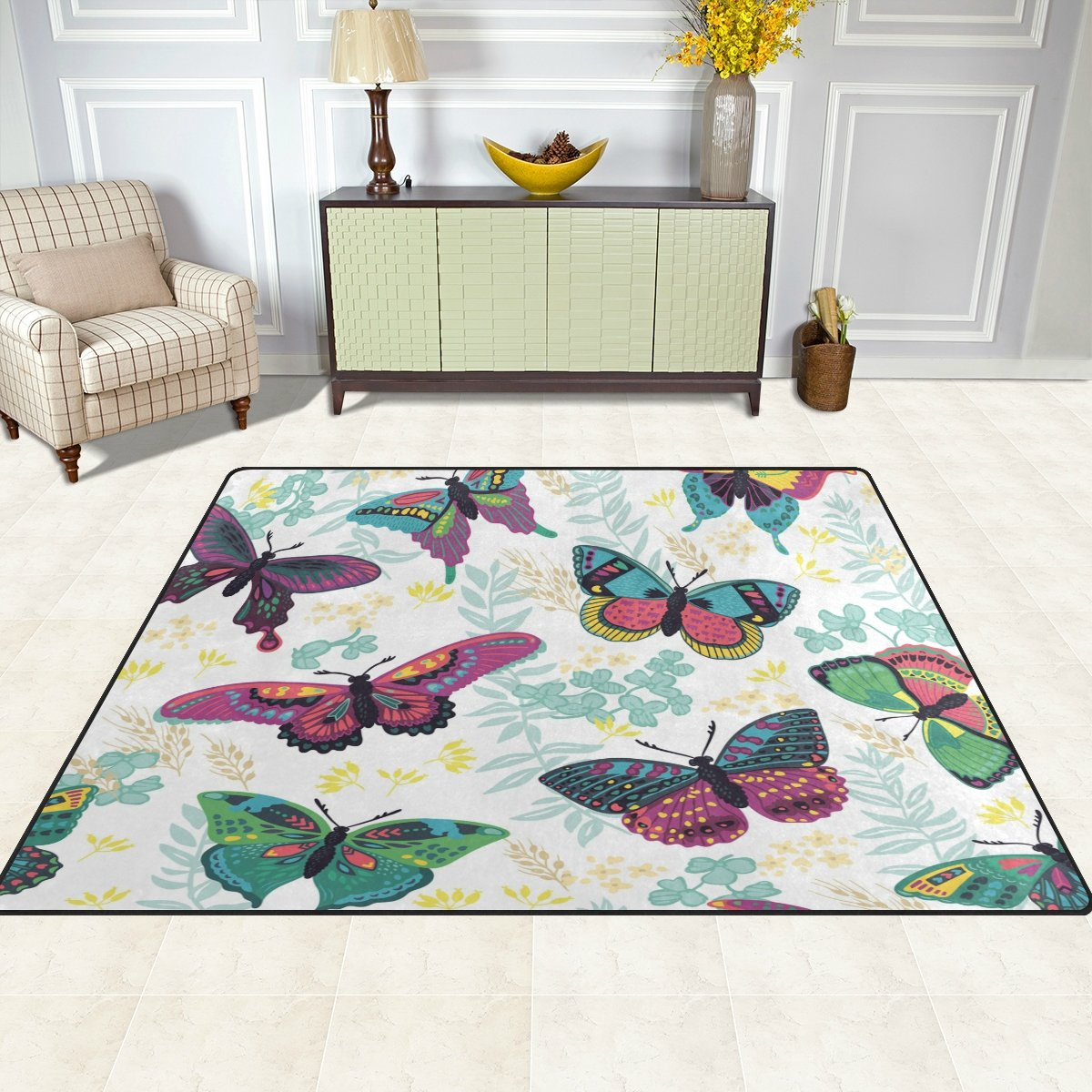 FFY GO Area Rug, Butterfly Print Carpet Super Soft Polyester Large Non-Slip Modern Bath Mats for Bedroom Living Room Hall Dinner Table Home Decor 48 x 63 inch