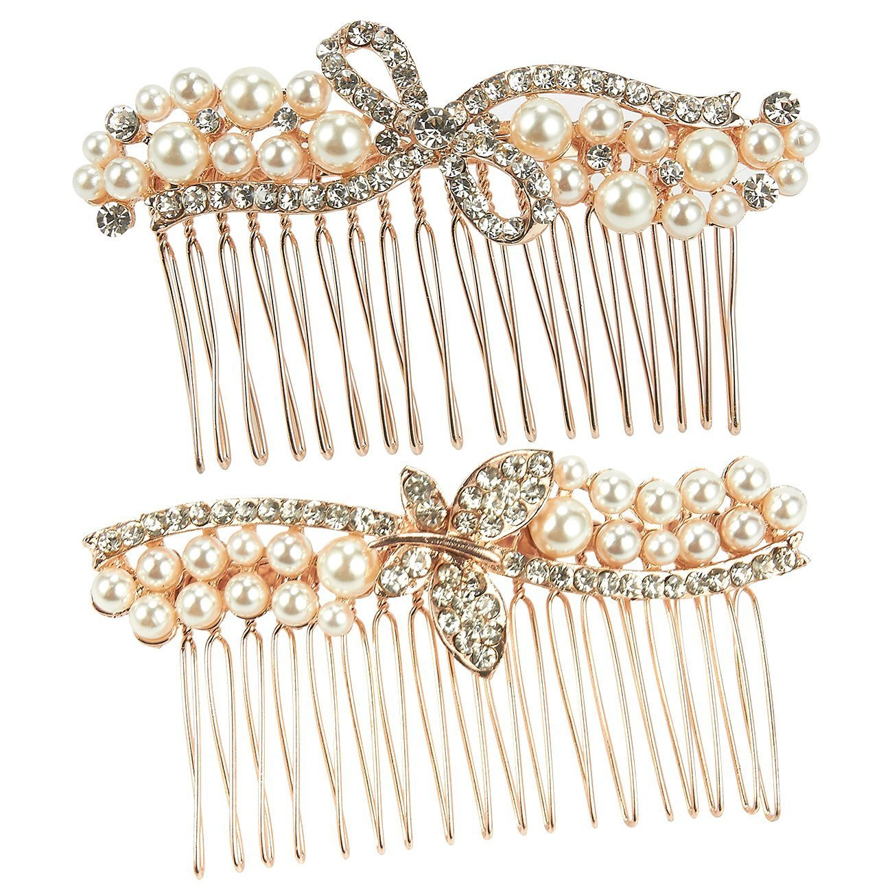 Vintage Rhinestone Bridal Hair Pin Slide Clips Grip Barrette Diamante Wedding x2