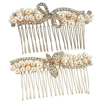 9a2773e0d62e0 2-Pack Bridal Comb Set - Decorative Rhinestone Hair Accessories for  Bridesmaids, Engagement...