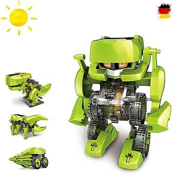 Juego de construcción 4 en 1 con dinosaurios y robot, juguete eléctrico pedagógico, accionamiento mediante energía solar: Amazon.es: Juguetes y juegos