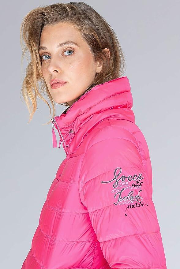 Soccx Damen Glänzende Steppjacke mit Doppelkragen: