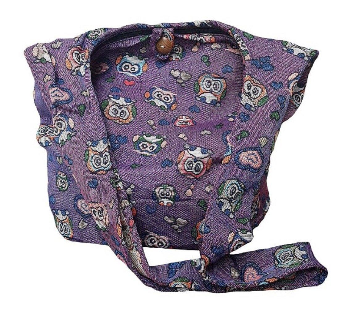 BTP! Owl Hippie Hobo Sling Crossbody Bag Messenger Purse Thai Cotton Large (Purple OL19)