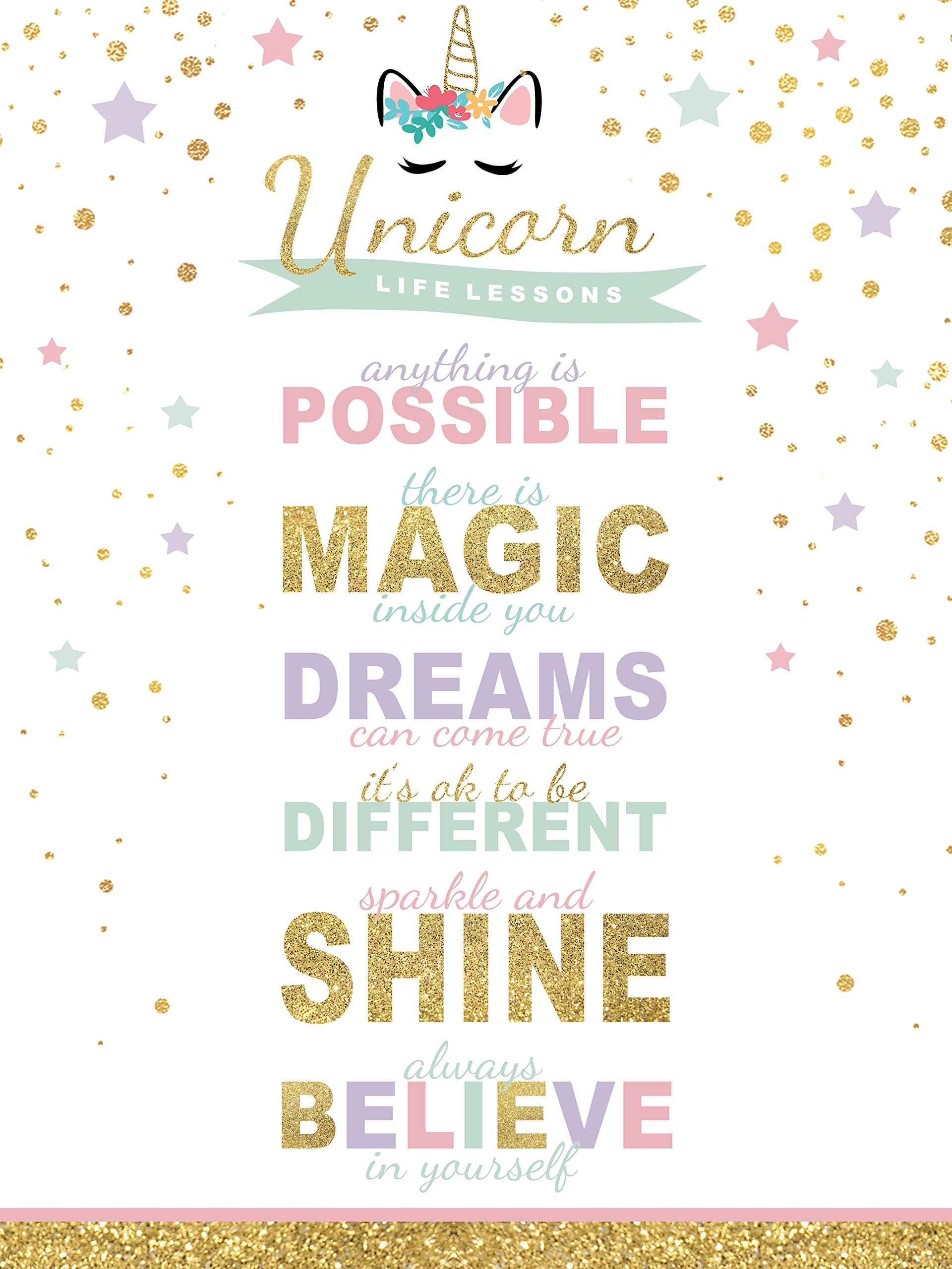 wallsthatspeak Girl's Room Unicorn Magic Life Lessons - Unframed Rainbow Sparkle 12x16 Inch Wall Decor Art Print Poster