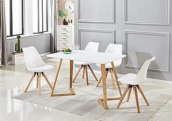 P N Homewares Ensemble Table A Manger Blanche 4 Chaises