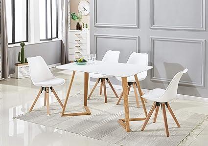P N Homewares Ensemble Table à Manger Blanche 4 Chaises
