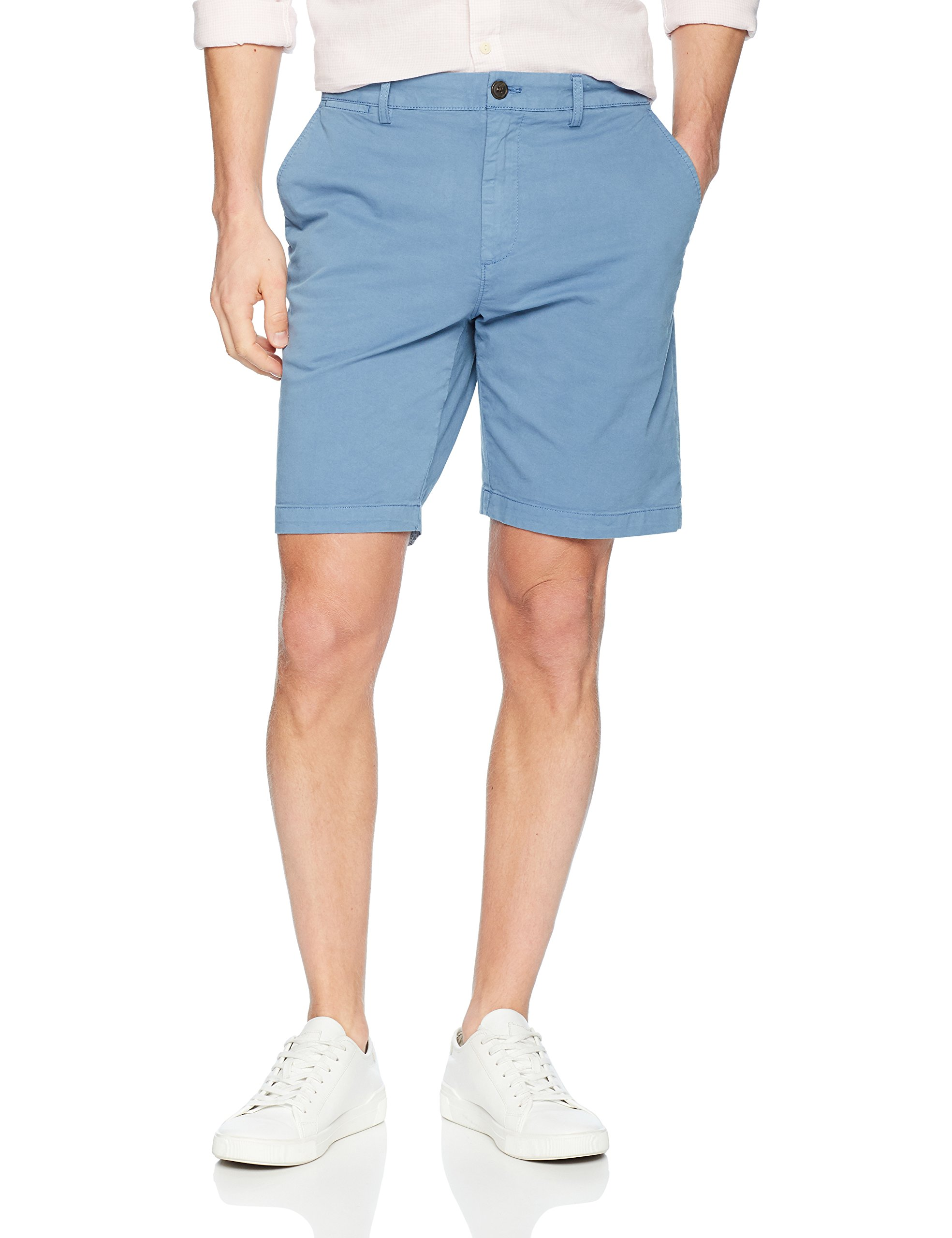 Goodthreads Men's 9'' Inseam Flat-Front Stretch Chino Shorts, Moonlight Blue, 36