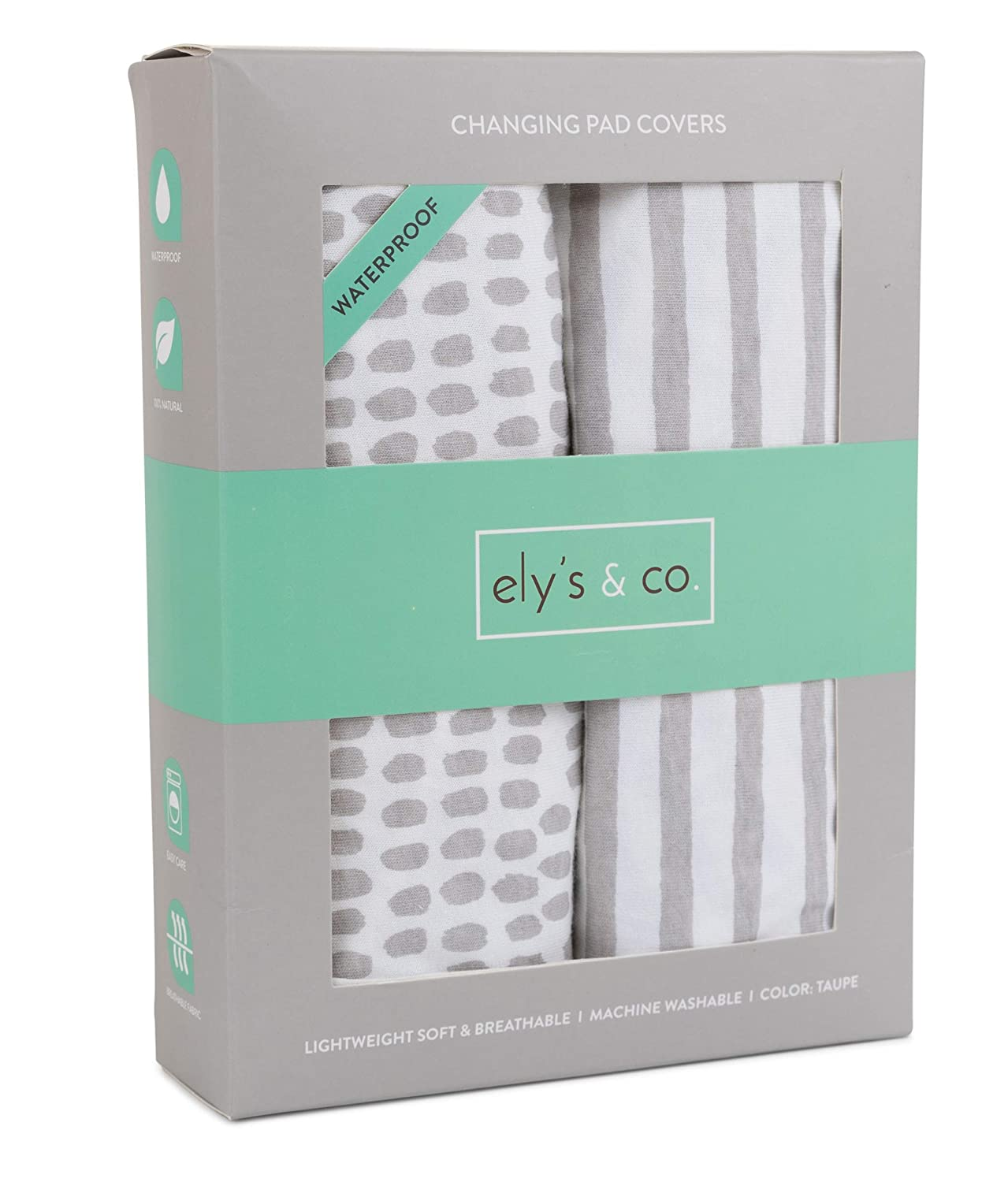 Waterproof Changing Pad Cover Set 100% Jersey Cotton 2 Pack | No Need for Changing Liner | Taupe Stripes and Spalsh by Ely's & Co. Ely's & Co.