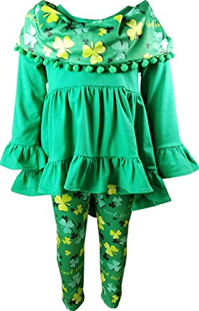 6d276d173 Boutique Baby Girls St Patrick's Day Paddy Good Luck Clover Outfit Set w  Pom Pom Scarf