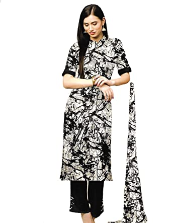 544067f33b Shien unstitched cotton printed punjabi salwar suit with matching printed  chiffon dupatta (black): Amazon.in: Clothing & Accessories