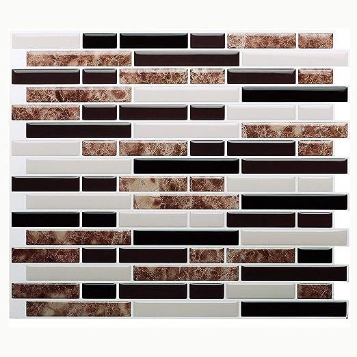 solo hay que pelar y pegar l/ámina autoadhesiva de azulejos para cocina y ba/ño 6 l/áminas Vamos Tile . extra/íble Panel de azulejos antisalpicaduras y antimoho de gama alta 27,94 x 23,37 cm