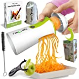 FabQuality No1 Best Seller Premium Vegetable Spiralizer Veggetti Spiral Slicer COMPLETE BUNDLE x4 - Spiraliser Booklet, Vegetable Cutter, Spiral Booklet, Brush , Peeler, Zucchini Pasta Noodle Spaghetti