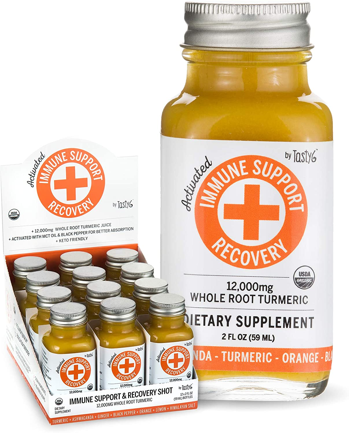 Activated Immune Support and Recovery Shots, Organic and Non-GMO Immunity Shots with Black Pepper, Ginger Root, and Turmeric Root, Ashwagandha , 59mL, Pack of 12 Bottles – Tasty6