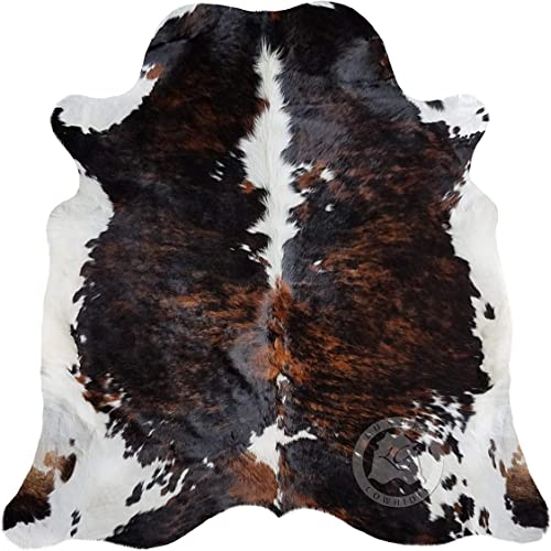 Brindle Dark Tricolor Cowhide Rug XL Approx Size 6ft x 8ft 180cm x 240cm from SUNSHINE COWHIDES
