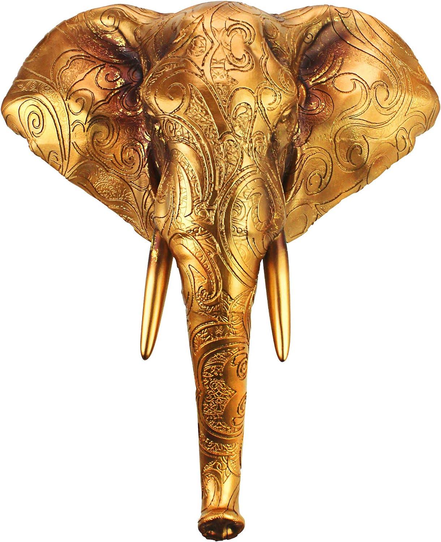 Design Toscano Good Fortune Golden Mandala Elephant Wall Sculpture, 17.5 Inch, Antique Gold