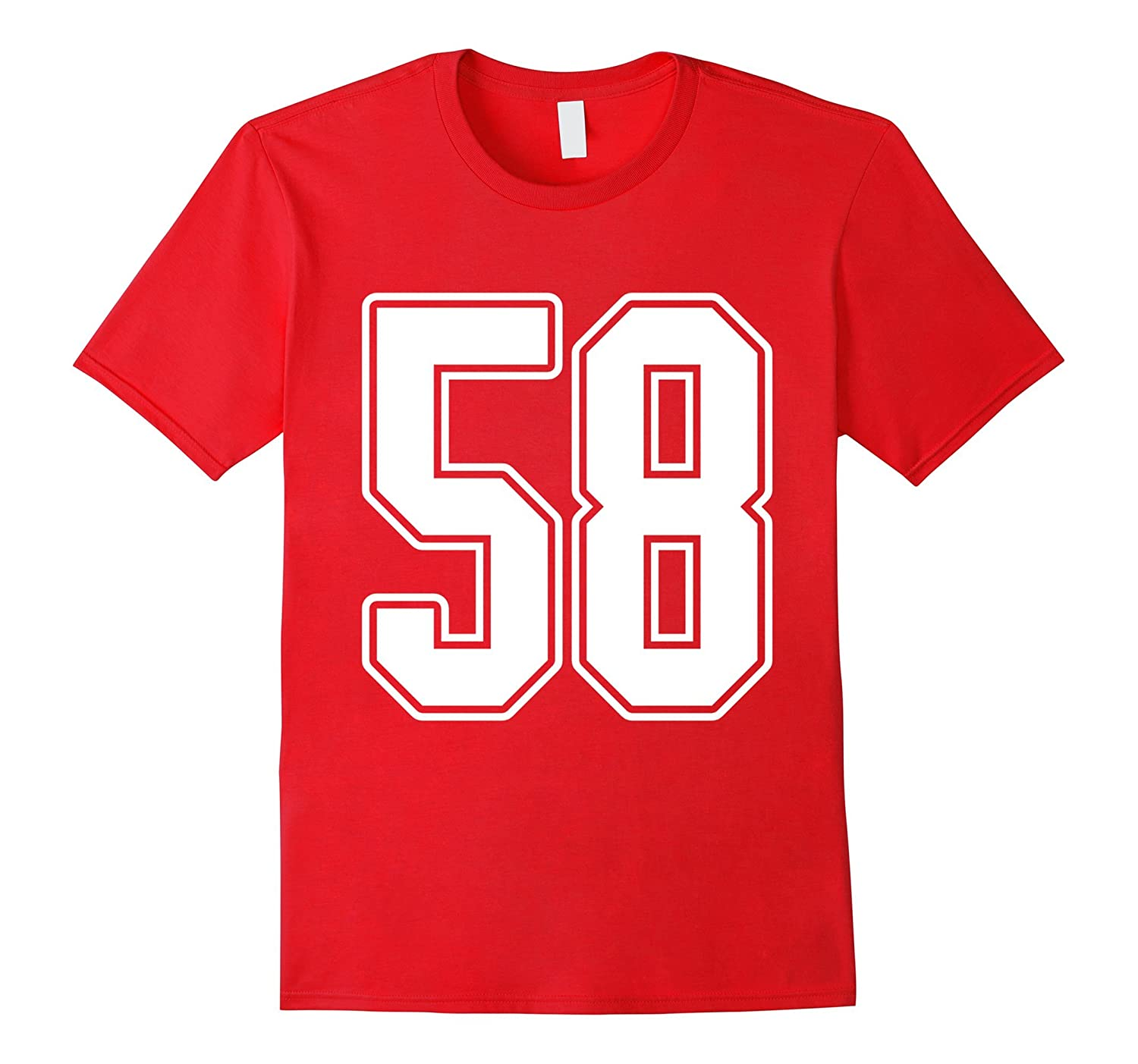 #58 White Outline Number 58 Sports Fan Jersey Style T-Shirt-T-Shirt