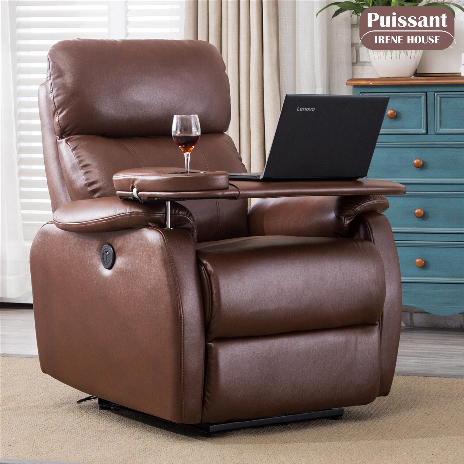 Irene House Power Home Theater Recliner With USB Port,Tray/Laptop Table(Brown)