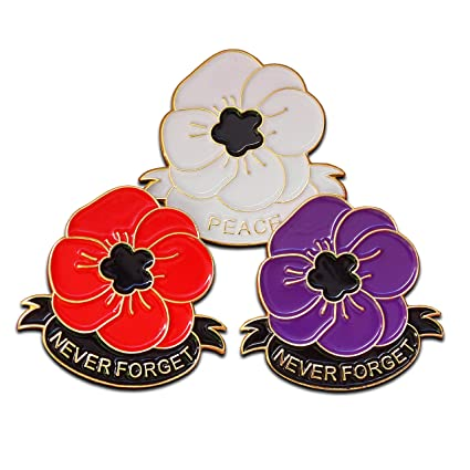 caa75442f White Purple Red Poppy Pin Badge Set with Gift Box Lest We Forget  Remembrance Day World