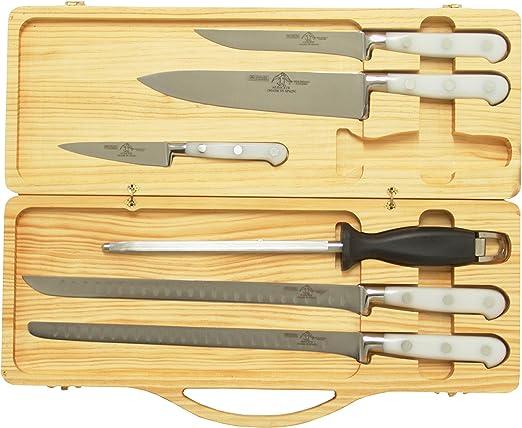 Compra Sonpó Online - Modelo ECJBL - Pack de cuchillos para corte de jamón - Mangos de color blanco y estuche de madera. en Amazon.es