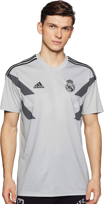 Grey adidas 2018-2019 Real Madrid Pre-Match Training Football Soccer T-Shirt Jersey