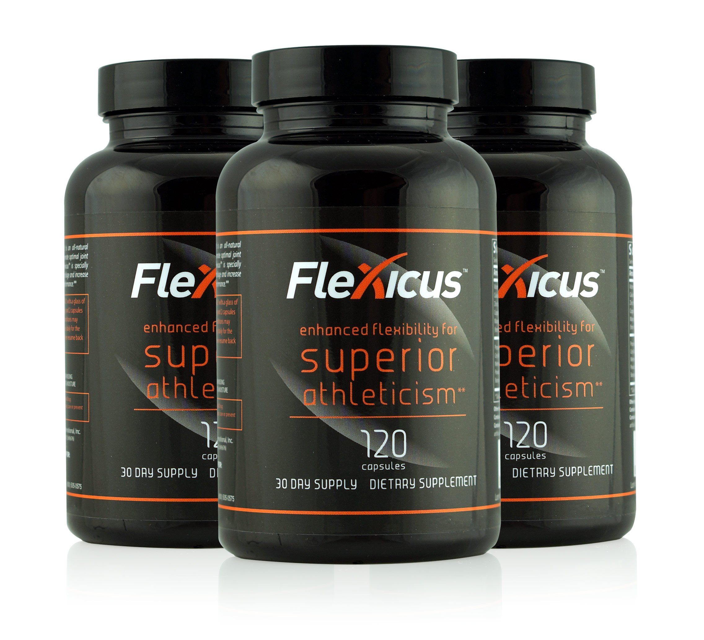 Flexicus with Cetyl Myristoleate (CM8) Maximum Strength Joint Supplement for Athletes: 3 Bottles, 360 Capsules