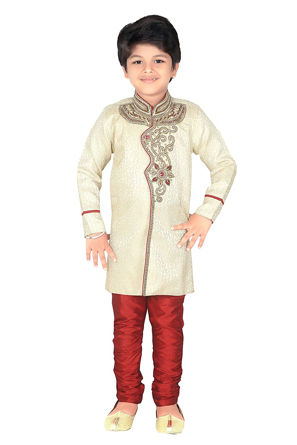 Ahhaaaa Kids Ethnic Indian Hand Work Embroidery Sherwani and Breeches Set for Boys