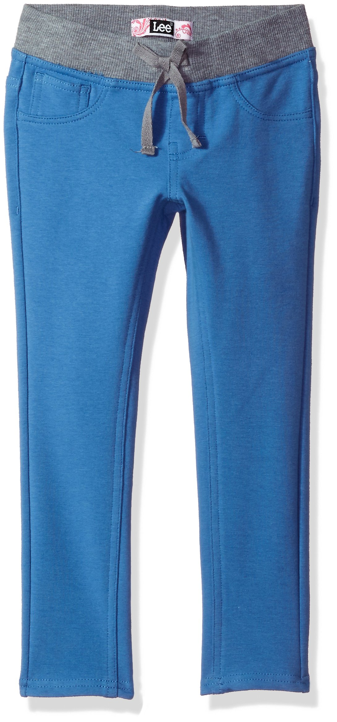 LEE Big Girls' Knit Waist Skinny Pull on Pant, River Blue, 7