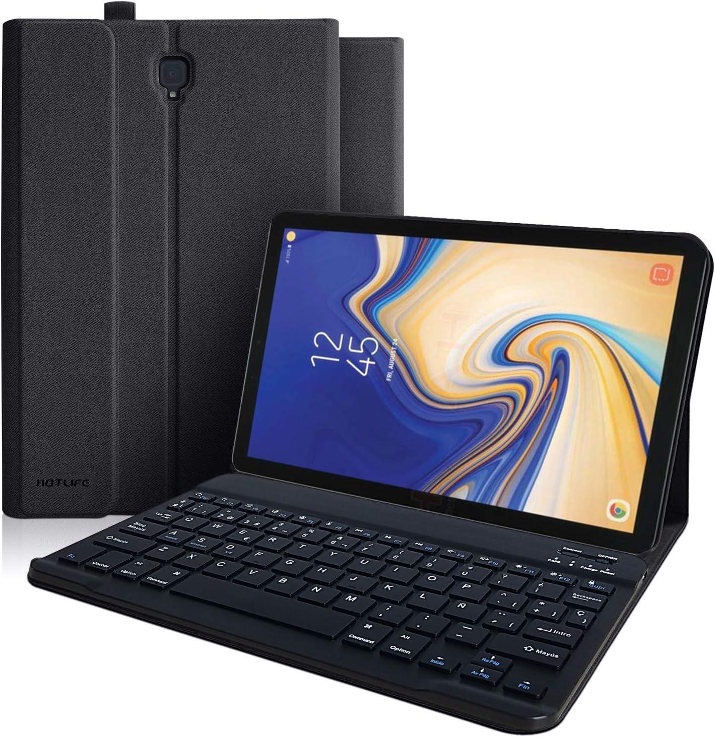 Funda con Teclado Samsung Galaxy Tab S4, Funda para Samsung Tab S4 10.5 2018 Modelo SM-T830/T835/T837 con Teclado Español (incluye Ñ), Cubierta Magnética Delgada-Teclado Bluetooth Inalámbrico(negro)