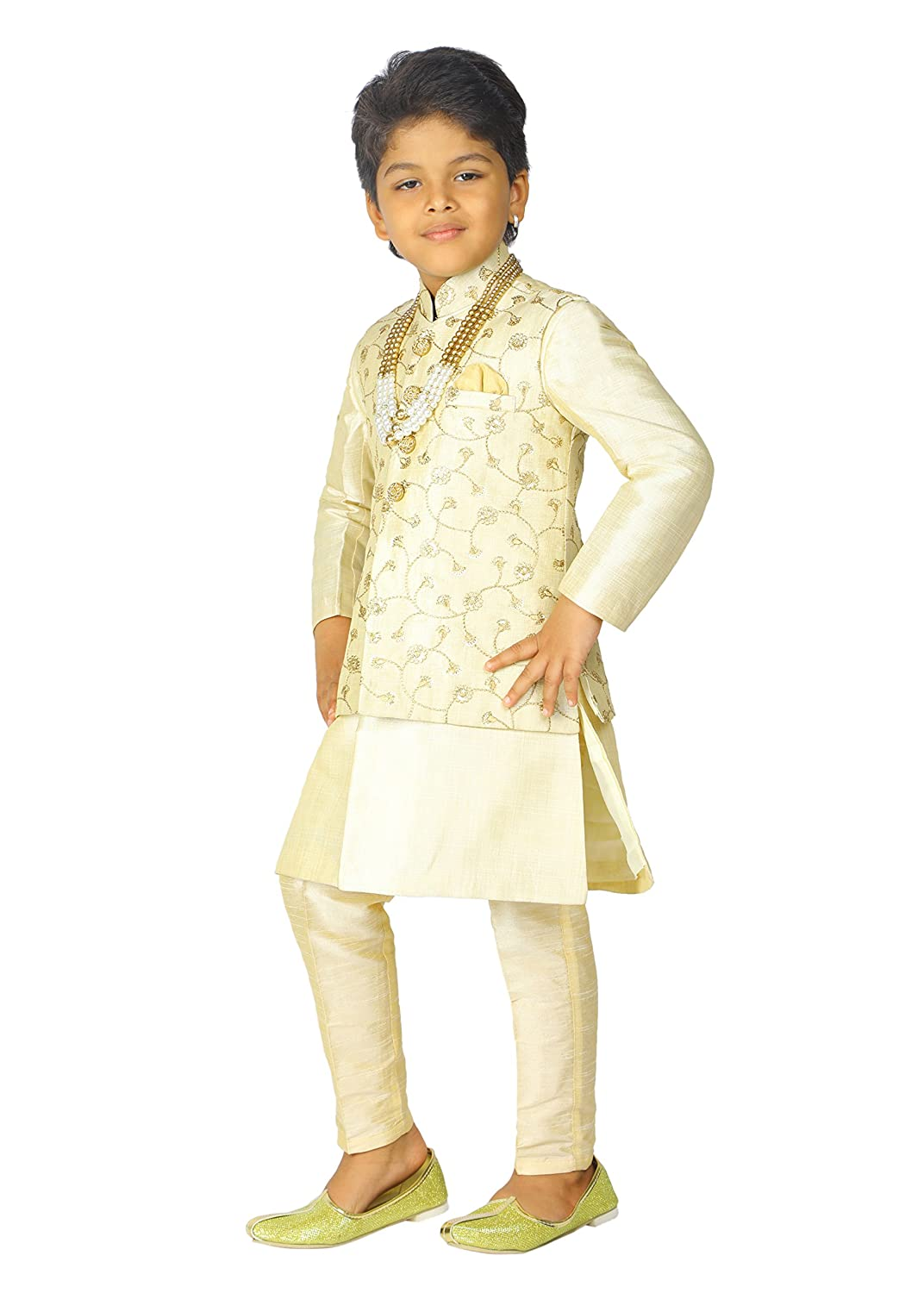 f3f9823e32 ... Ahhaaaa Kids Indian Ethnic Banarasi Silk Kurta Pyjama and Waistcoat Set  for Boys ...