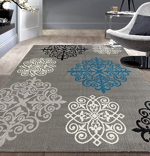 Modern Geometric Damask Design Gray 7'6″ X 9' 5″ Area Rug