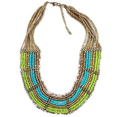 db619bb652c9 Collar con cadena de cuentas multicolor con aspecto vintage tribal boho  gitano indio banjara joyas hechas a mano bisutería de moda para mujer -  Multicolor  ...