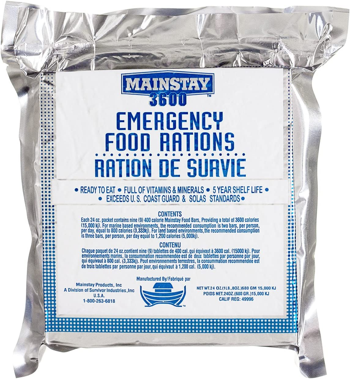 Mainstay Emergency Food Rations - 3600 Calorie Bars (Pack of 20)