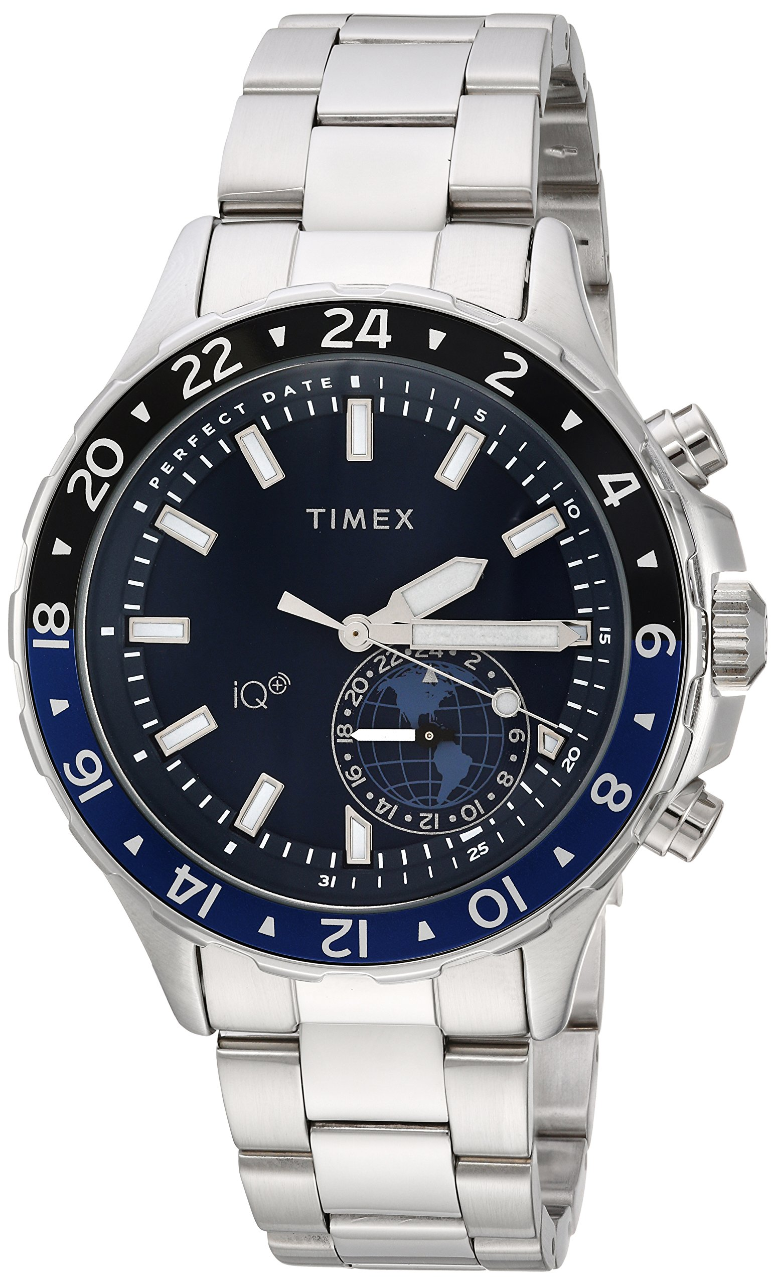 Timex Men's TW2R39700 IQ+ Move Multi-Time Silver-Tone/Blue Stainless Steel Bracelet Watch by Timex