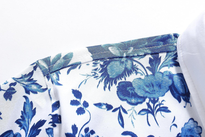 SSLR Mens Floral Button Down Short Sleeve Hawaiian Tropical Shirt