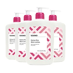 Amazon Brand - Solimo Extra-Dry Skin Lotion with Vitamins B5 & E, 16 Fluid Ounce (Pack of 4)