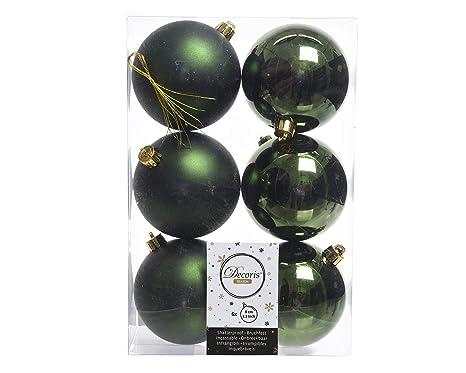 Christbaumkugeln Amazon.6 Weihnachtskugeln Christbaumkugeln Kugeln Baumkugeln Grun Piniengrun Bruchfest 80mm