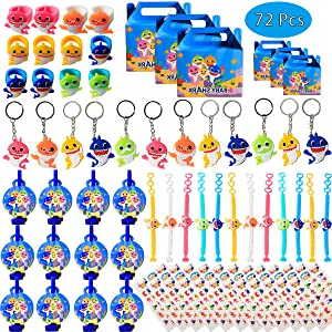 Shark Birthday Party Favors for Baby Supplies- Shark Bracelets, Rings, Key Chains, Blower Whistles, Tattoos and Goodie Bags for Classroom Rewards Carnival Prizes Set Gifts for Kids Boys Girls - Serve 12 Guests