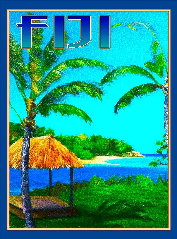 TYmall Metal Sign Wall Plaque Fiji Island South Pacific Seas Ocean Beach Reef Travel Advertisement Art Art Decor House Home Tin Signs 8X12 Inch