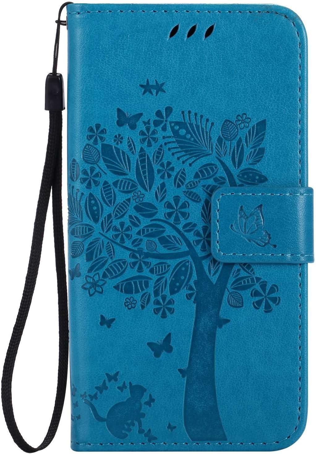 Guran® Funda de Cuero para Xiaomi Mi5 Smartphone Función de Soporte con Ranura para Tarjetas Flip Case Cover-Azul