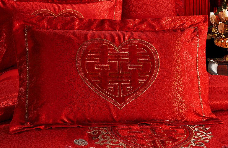 Chinese Red High-grade Cotton Denim Embroidered Red Wedding Bedding Wedding Supplies (1.5m, Heralds) by Yiyi love