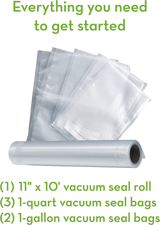 Foodsaver FSFSSL2244-000 V2244 Machine for Food Preservation with Bags and Rolls Starter Kit | Number 1 Vacuum Sealer System | Compact and Easy Clean | UL Safe, Single, Black: Food Saver: Kitchen & Dining