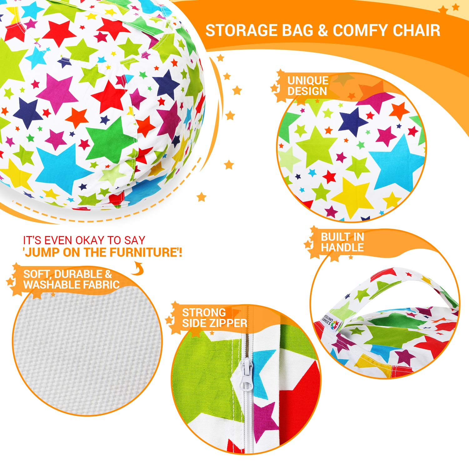 Stuffed Animal Storage Bean Bag - Cover Only - Large Beanbag Chairs for Kids - 90+ Plush Toys Holder and Organizer for Boys and Girls - 100% Cotton Canvas - Holiday Stars by 5 STARS UNITED (Image #3)