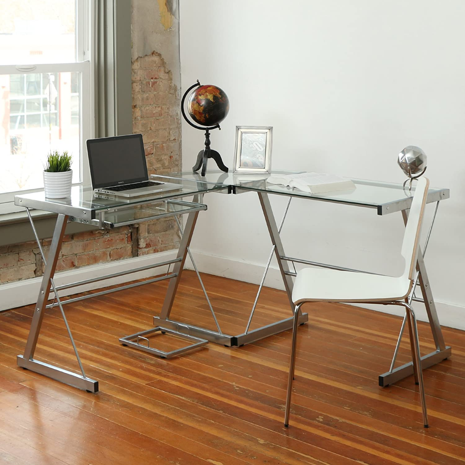 Amazon.com: Walker Edison 3-Piece Contemporary Glass and Steel Desk,  Silver: Kitchen & Dining