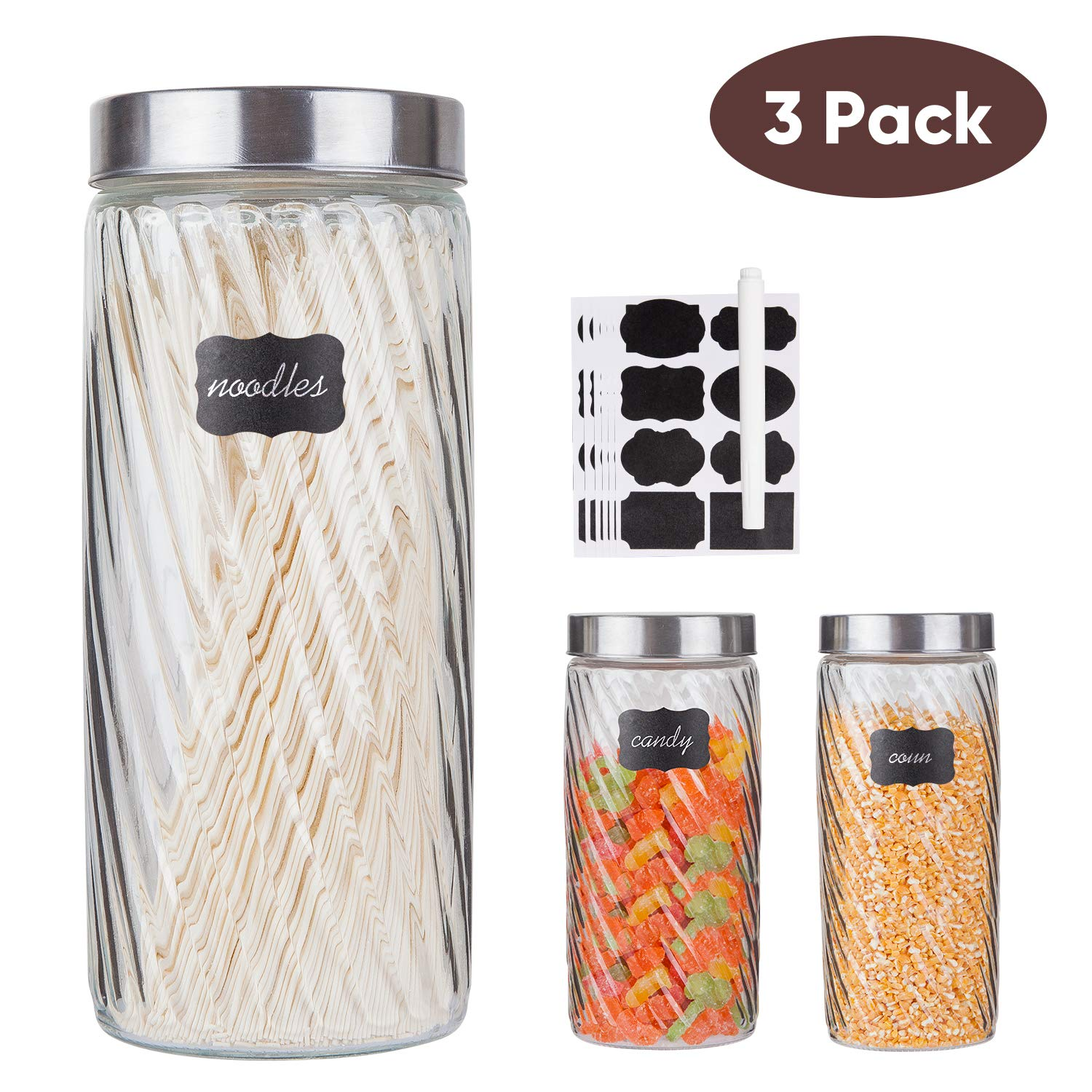 Glass Kitchen Storage Canister Jars Set with Stainless Steel Lids and 8 Labels & 1 Chalk Marker For The Kitchen,Set of 3,71 oz(Diagonal Stripes)