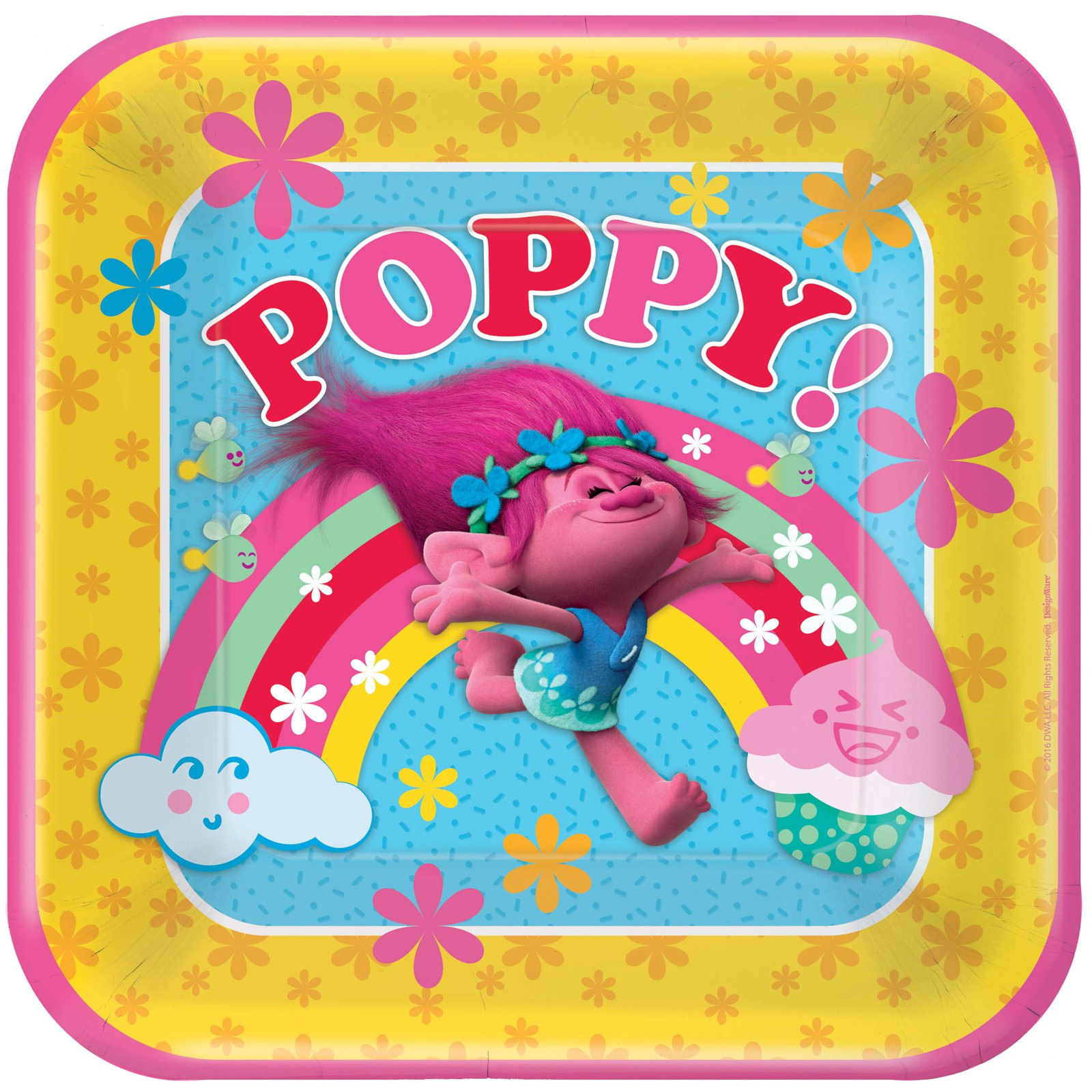 American Greetings Trolls Fairytale Colorful Poppy Party 9'' Dinner Plates Pack (24) by BirthdayExpress