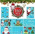 Kerst venster stickers, kerst venster klampt Decals met sneeuwvlokken Santa Sneeuwpop Rendier Xmas Window Stickers,160 Stks Kerst Venster Decoratie PVC Staic Stickers voor Kerst Window Display