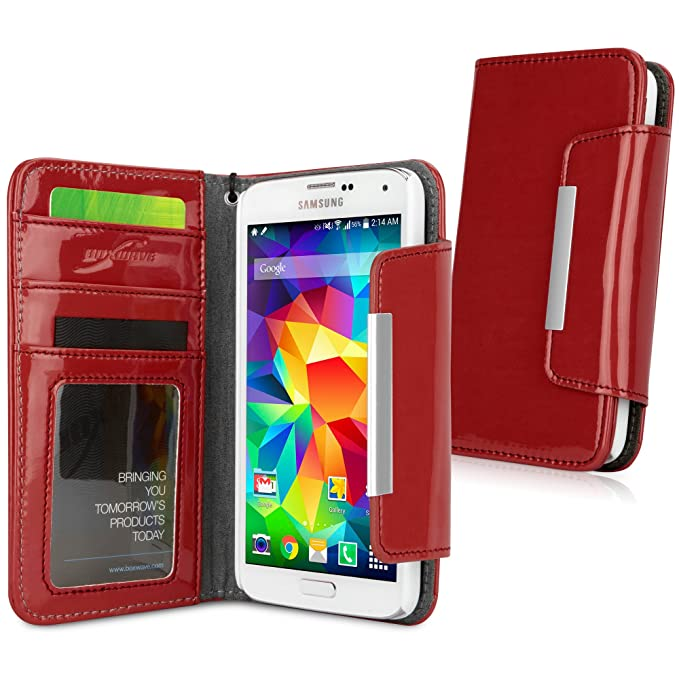low priced 04686 1841d Galaxy S5 Case, BoxWave [Patent Leather Clutch Case] Vegan Leather Wristlet  / Wallet Cover for Samsung Galaxy S5 - Ruby