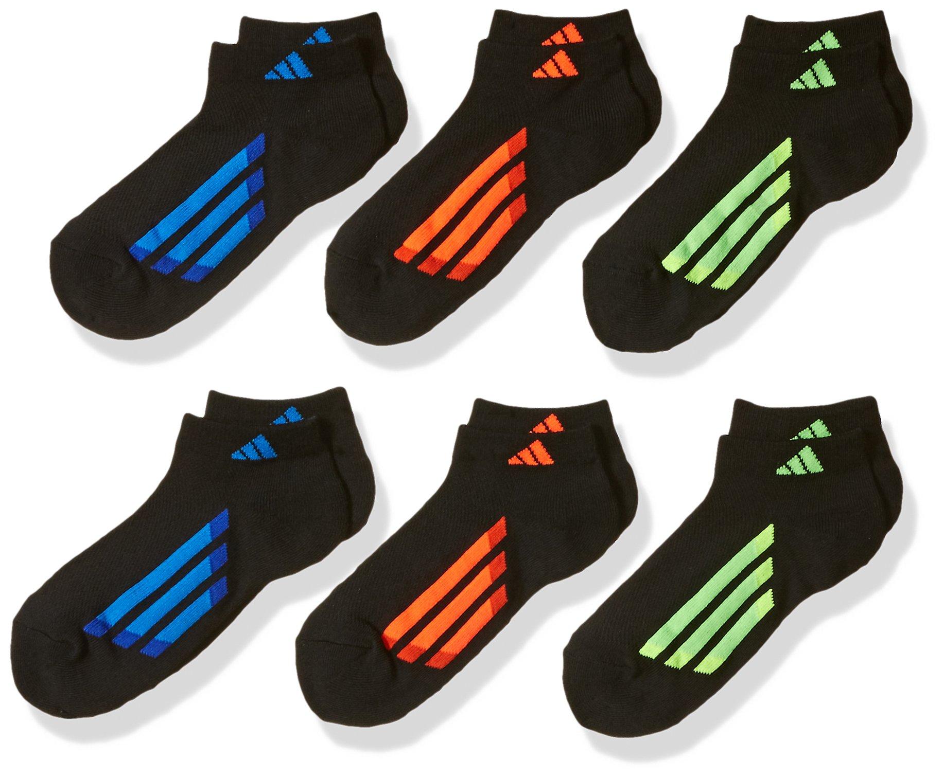 adidas Youth Kids-Boy's/Girl's Cushioned Low Cut Socks (6-Pair), Black/Solar Red/Bold Orange/Solar Green/Solar Yell, Large, (Shoe Size 3Y-9) by adidas