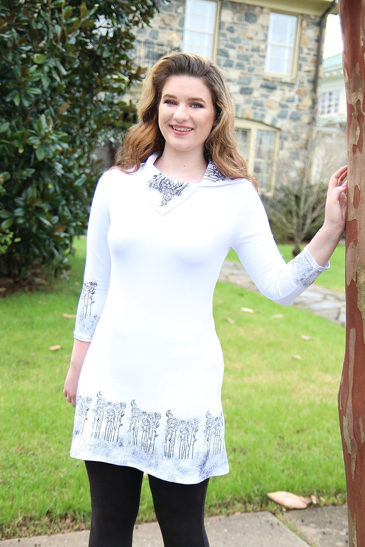 Art to Wear Modern White Black Women's Jersey Tunic Top ¾ Sleeve Hand Printed Short Dress Size Medium by Francoise Lama-Solet