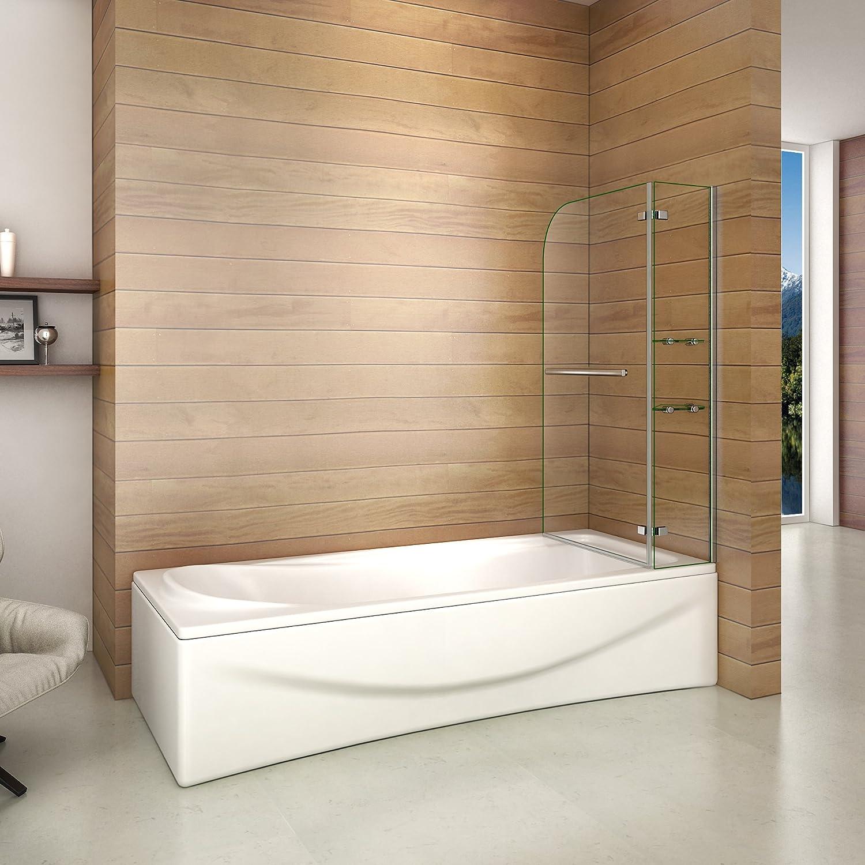 Paroi de douche 90x140cm pare de douche pivotant Pare baignoire avec les /étages en verre securit