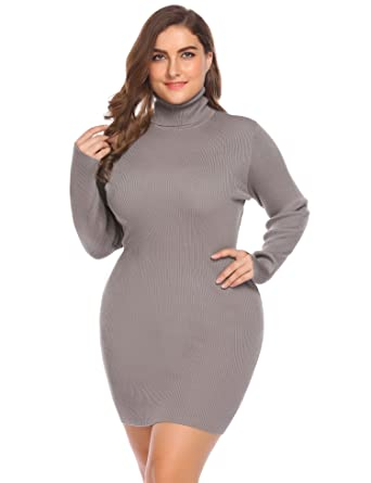Zeagoo Women Lady Plus Size Turtleneck Stretchable Knit Pullover Bodycon  Sweater Dress